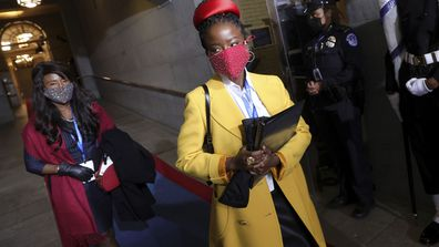 National youth poet laureate Amanda Gorman arrives at the inauguration of U.S. President-elect Joe Biden on the West Front of the U.S. Capitol on Wednesday, Jan. 20, 2021 in Washington.