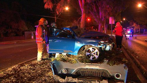 'Thank goodness he didn't have a passenger': Speeding motorist wraps car around tree in Adelaide