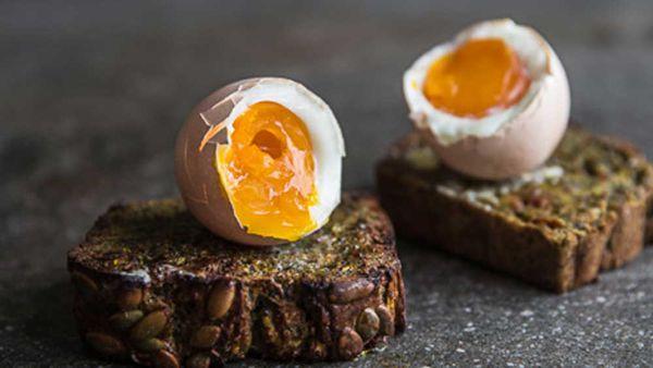 Eggs on zucchini bread