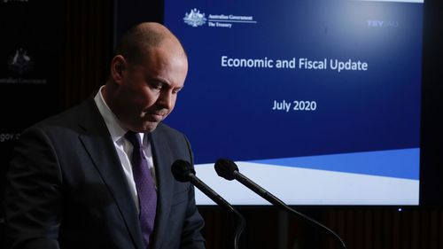Treasurer Josh Frydenberg during a press conference to deliver an economic statement.