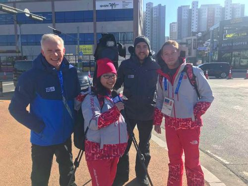Theresia Citra and Myles Smith with 9NEWS reporter Damian Ryan. (9NEWS)