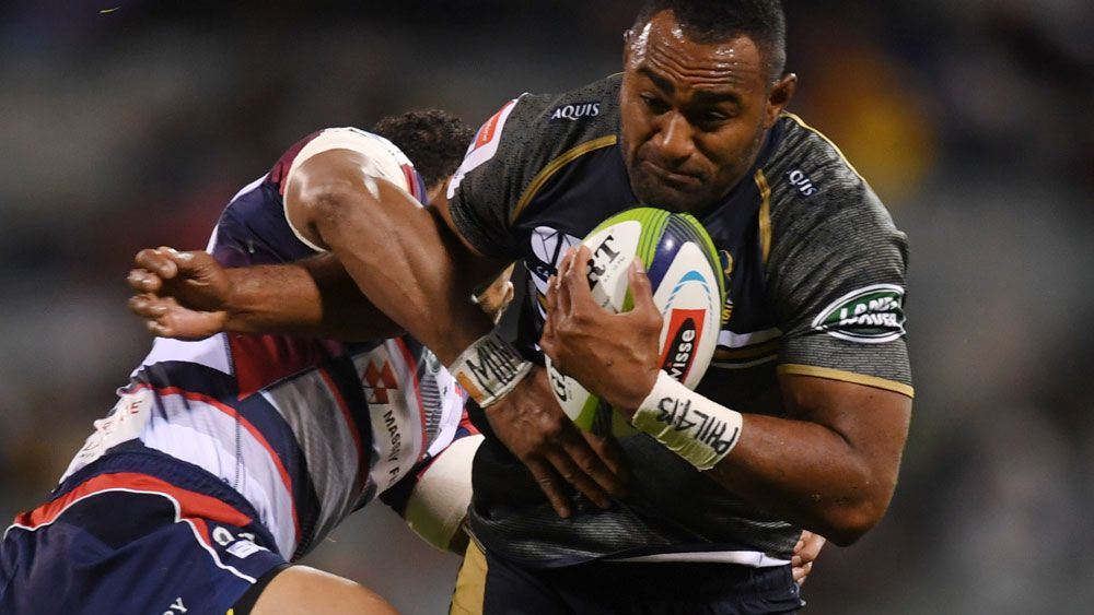 Brumbies and Wallabies player Tevita Kuridrani in action against the Rebels. (AAP)