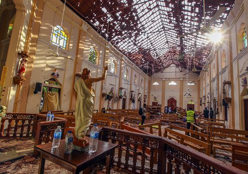 Inside St. Sebastian's Church which was damaged in a deadly bomb blast in Negombo, Sri Lanka. A series of hotels and churches were hit in suicide bomb blasts, inspired by Islamic State.