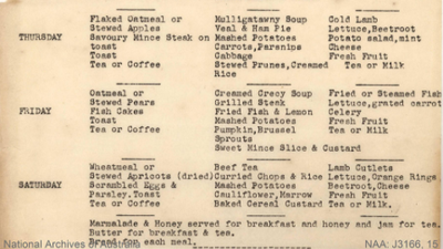 Suggested menu for residents at the quarantine station.