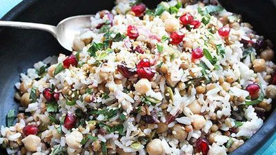 "<a href=""http://kitchen.nine.com.au/2016/05/04/15/36/liliana-battles-feel-good-rice-chickpea-and-cranberry-salad"" target=""_top"" draggable=""false"">Liliana Battle's 'feel good' rice, chickpea and cranberry salad</a>"