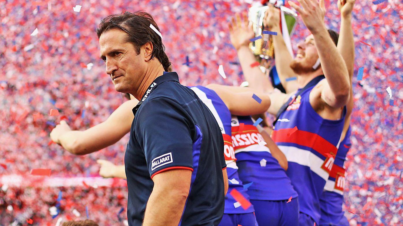 Luke Beveridge, Coach of the Bulldogs, celebrates after the 2016 AFL Grand Final