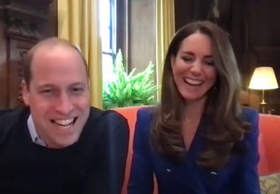 Prince William and Kate during video call with Cruella stars