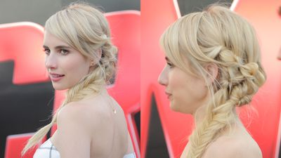 <p>Emma Roberts let the fishtail braid take on a life of its own at Comic-Con.</p>
