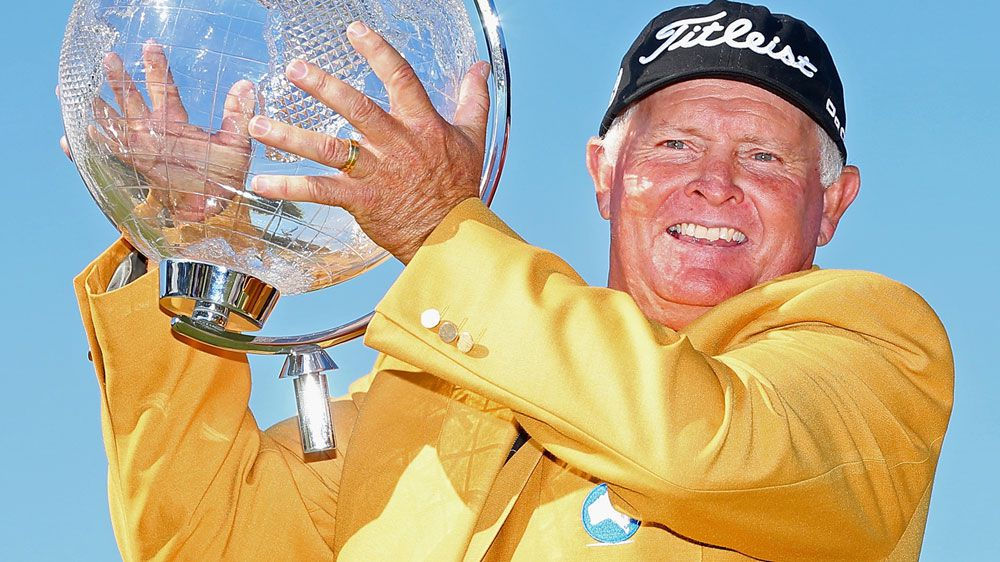 Peter Senior celebrates his 2015 Masters win. (Getty)