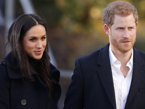 Harry and Meghan arrive at Nottingham Academy in Nottingham, England , Friday, Dec. 1, 2017.