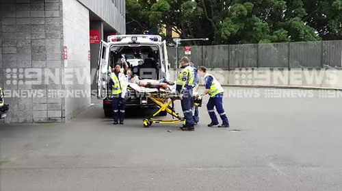 A man was taken to Royal North Shore Hospital in a critical condition after the scaffolding collapse in Macquarie Park this afternoon.