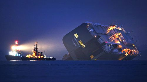 Huge cargo ship beached deliberately