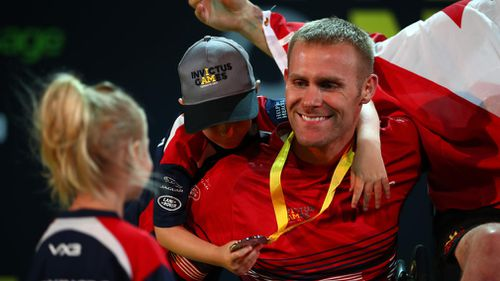 Omrod greets family during the Invictus Games 2017. (Getty)