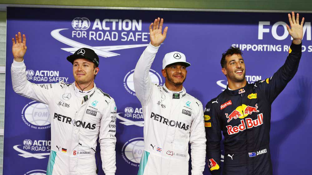 Lewis Hamilton (middle) has taken pole for the season-ending race in Abu Dhabi. (AAP)