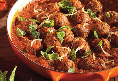 "Recipe: <a href=""/recipes/ilamb/9065045/lamb-and-mint-meatballs-in-chermoula-tomato-sauce"" target=""_top"">Lamb meatballs in chermoula sauce</a>"