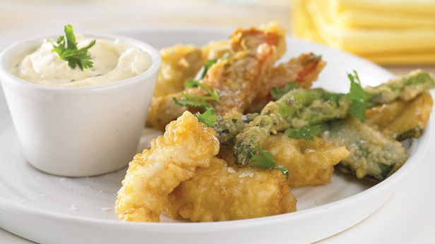 Tempura strips with ginger mayo