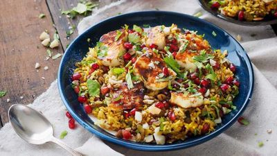 Spiced brown basmati, quinoa and haloumi salad