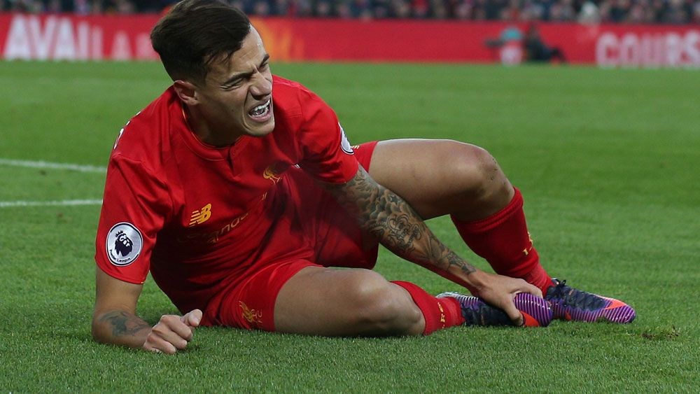 Liverpool will be without star attacking player Phillippe Coutinho for five weeks. (AAP)