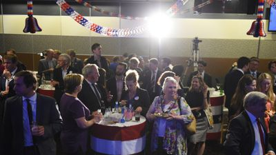<p>US and Australian citizens gather to watch the results of the election at the US Embassy's National Press Club event. </p> <p>(AAP)</p>