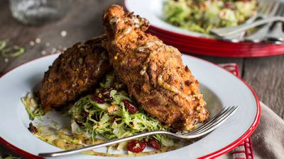 Preztel chicken with Brussels sprout and cranberry salad
