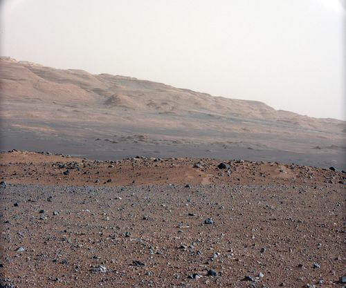 A handout photograph dated 23 August 2012 and released by NASA on 28 August 2012 a high-resolution colour picture looking south-southwest from the rover's landing site on planet Mars. Picture: AAP