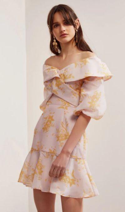 "<a href=""https://fashionbunker.com/stand-tall-dress-blush-stencil-floral"" target=""_blank"" draggable=""false"">KEEPSAKE stand tall dress</a>, $199.95<br>"