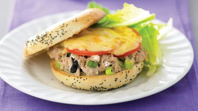 """Recipe: <a href=""""http://kitchen.nine.com.au/2016/05/13/11/24/bagels-with-tuna-and-cheese"""" target=""""_top"""">Bagels with tuna and cheese</a>"""