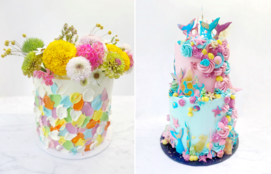 Homemade cakes by Orlando's Sweets; flower paint brush cake and under the sea cake