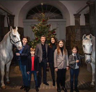 Princess Mary and her family decorate Christmas tree with their horses in palace stables