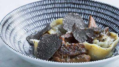 "Recipe:&nbsp;<a href=""http://kitchen.nine.com.au/2016/07/19/09/12/mushroom-tortellini-with-pine-mushroom-ragout-truffle-pec-fresh-shaved-truffles"" target=""_top"">Mushroom tortellini with pine mushroom ragout, truffle pec, fresh shaved truffles</a>"