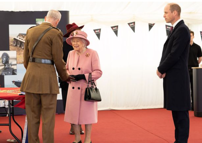 Queen Elizabeth and Prince William view a demonstration of a Forensic Explosives Investigation this week.