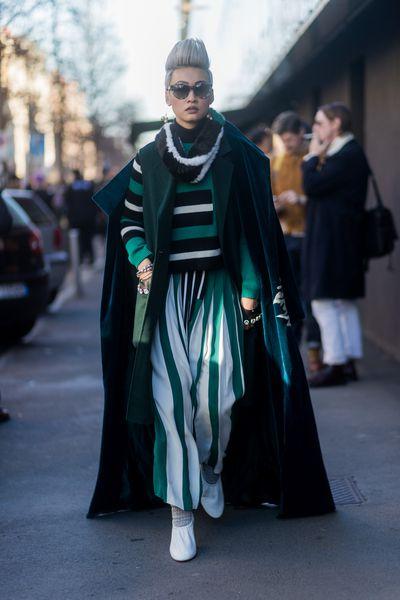<p>Esther Quek in bold, primary colour stripes and of course - velvet, velvet, velvet.</p> <p>Image: Getty.</p>