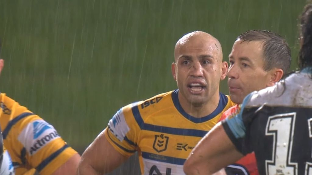 NRL rejects Sharks coach's claim Blake Ferguson knocked on in Eels win over Cronulla