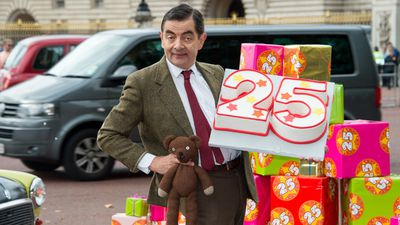 Mr Bean seemed excited to celebrate his birthday with cake. (AAP)