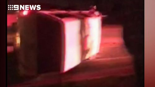 The 28-year-old's dashcam captured the moment his car swerved out of control and onto its side.