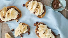 Banana ricotta and hazelnut bruschetta