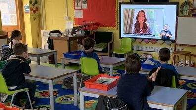 Kids watch Duchess of Cambridge school assembly