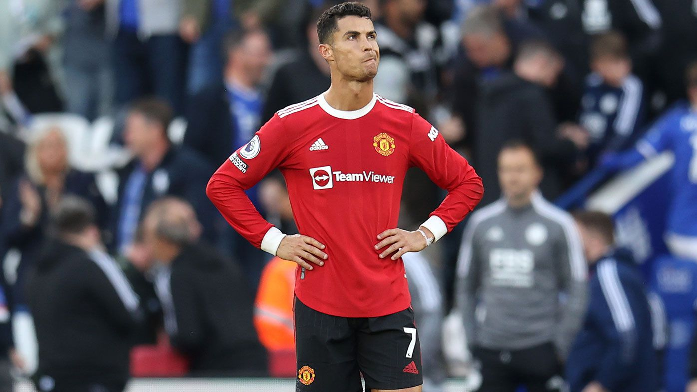 Cristiano Ronaldo of Manchester United reacts during the Premier League match between Leicester City and Manchester United