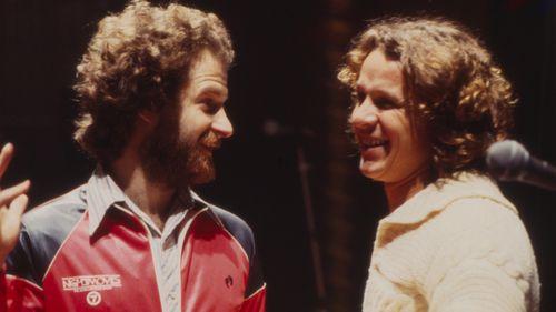 Michael Gudinski and Graham Shirley Strachan in the 1970s.
