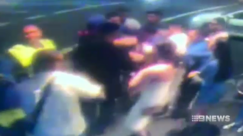 Police were called after a group of 15 people started brawling outside Slide on Oxford Street Surry Hills.