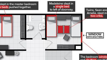 The floorplan of the two-bedroom apartment in the Ocean Club Resort, where Madeleine McCann's family stayed in 2007.