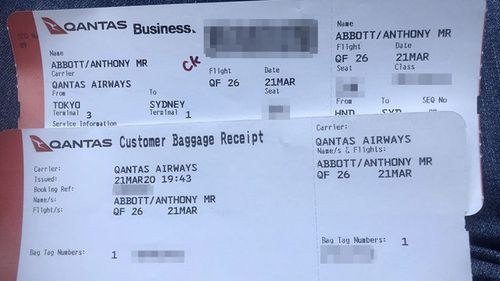 Tony Abbott posted this photo of his boarding pass on Instagram. His personal details were not obscured.