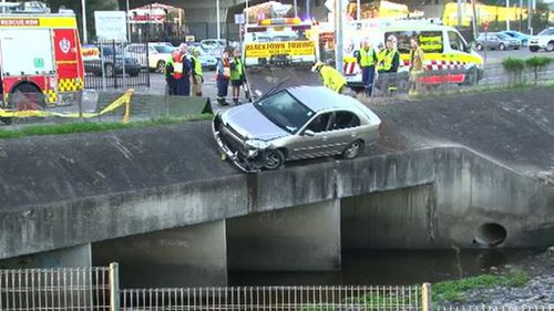 The woman as been taken to hospital in a stable condition. (9NEWS)