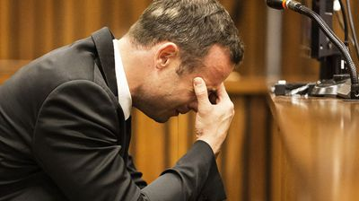 Oscar Pistorius weeps in court. (Getty)
