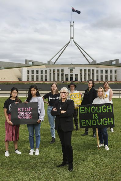 Group photo of Madeleine Chia, Avan Daruwalla, Aoibhinn Crimmins, Janine Hendry, Katchmirr Russell, Helen Dalley-Fisher, Frances Crimmins and Kate Walton on the eve of the Women's March 4 Justice at Parliament House in Canberra on Sunday 14 March 2021. fedpol Photo: Alex Ellinghausen