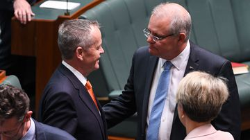 Old foes ScoMo and Shorten all smiles before tax cuts stoush
