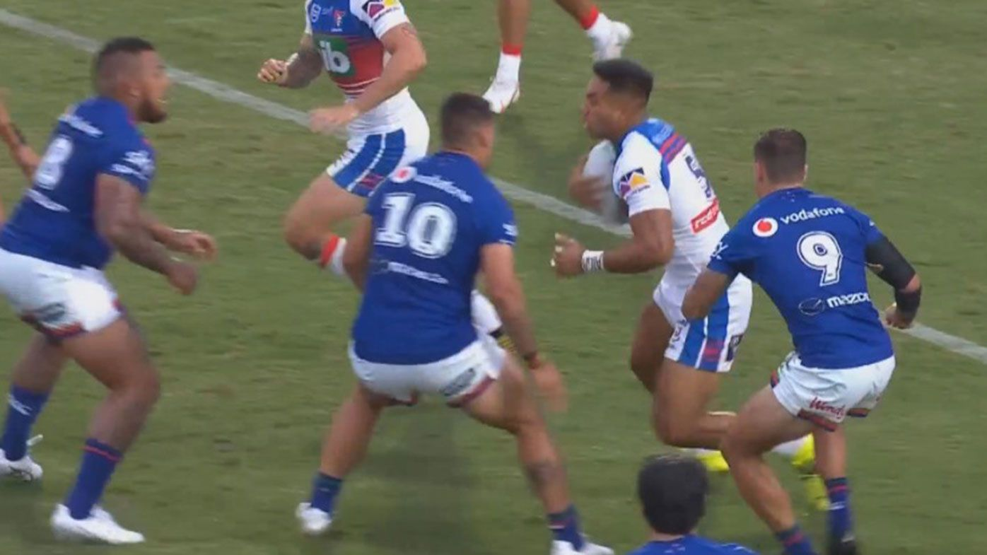 Jamayne Taunoa-Brown could be suspended for a month for a crusher tackle on Hymel Hunt.