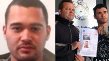 Michael Junior Huria (left) and his father and brother at a public appeal yesterday. (WA Police/9NEWS Perth)