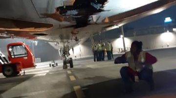 An Air India plane has smashed into wall as it continues flying.