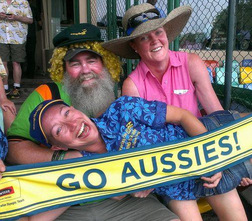 Mr Moynahan and some friends on a trip watching Aussies in action in 2016. Picture. Facebook